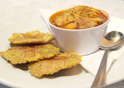 Asopao de pollo lunch with tostones
